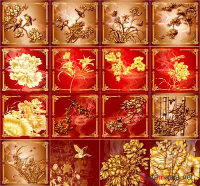 Vector Flower Gold