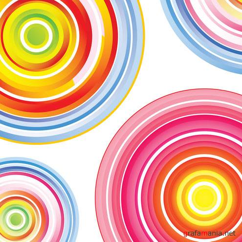 Colorful Concentric Circles Art Vector