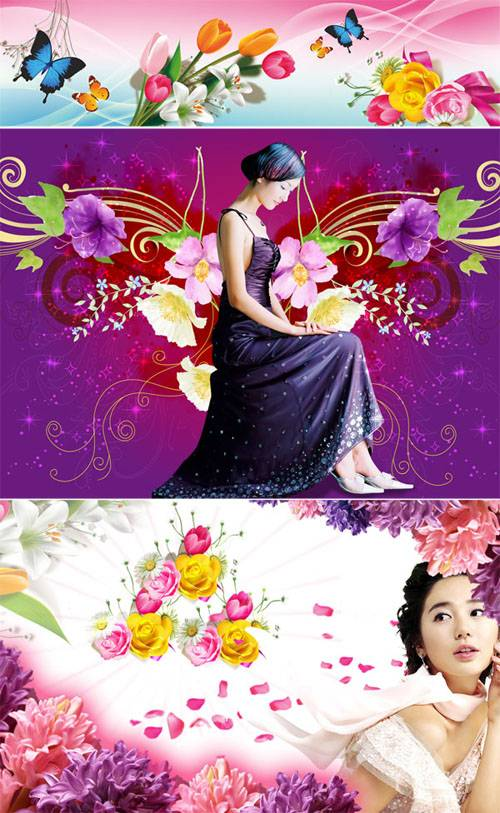 PSD templates - Spring and girls