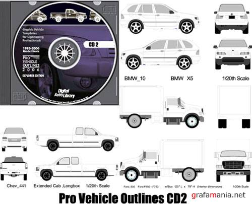 Pro Vehicle Outlines Vector Clipart CD2