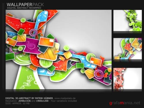 Digital 3D Abstract Wallpapers Pack