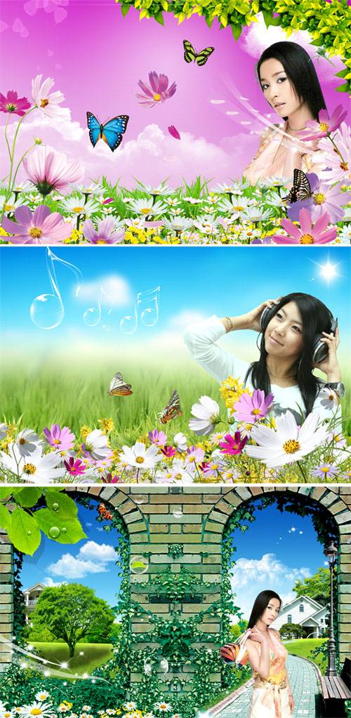 PSD templates - Girls and flowers