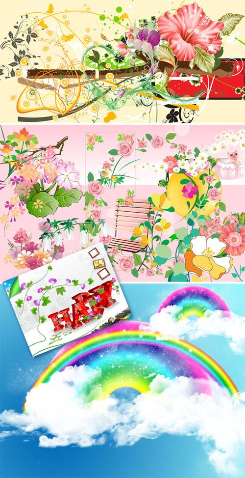 PSD templates - Bright flower images 2