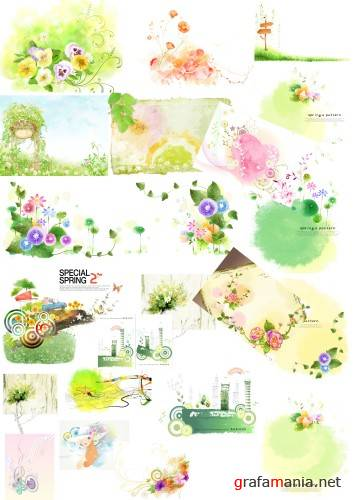 Water colour drawings PSD