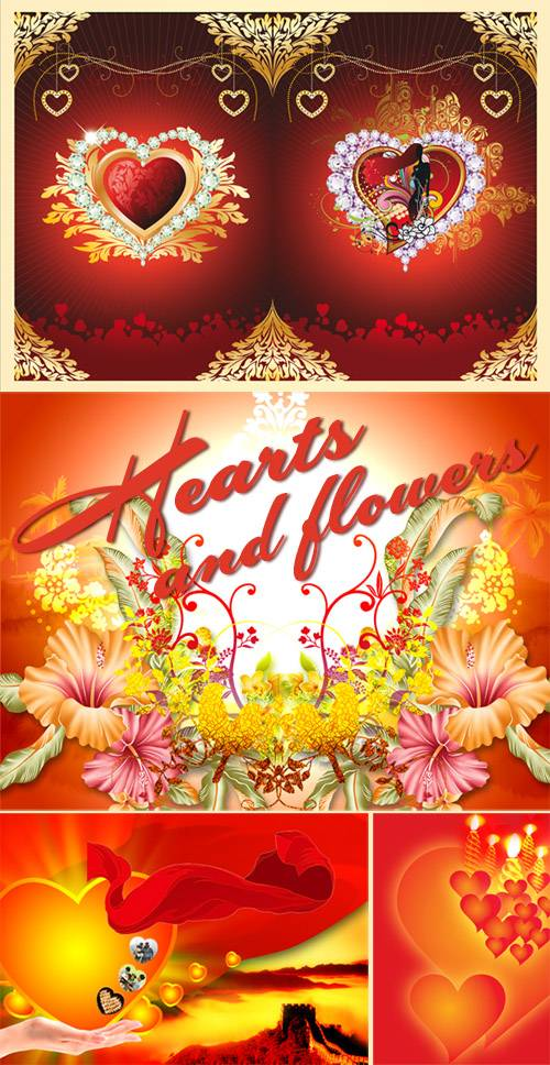 PSD templates - Hearts and flowers