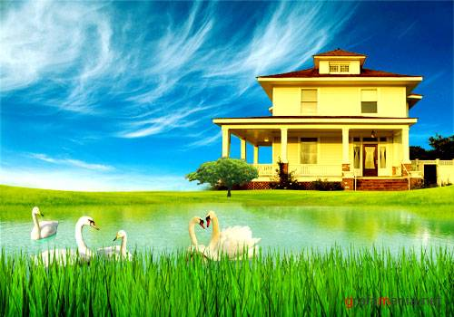 House by the lake PSD template