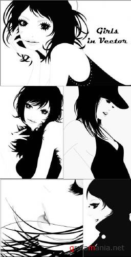 Girls in Vector (B&W)