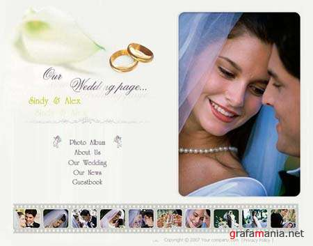 "Flash Template for Website - ""Our Wedding Page"""