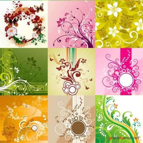 Floral backgrounds - Vector clipart