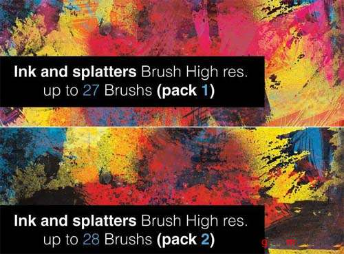 Ink and Splatter Photoshop Brushes - 2 Packs