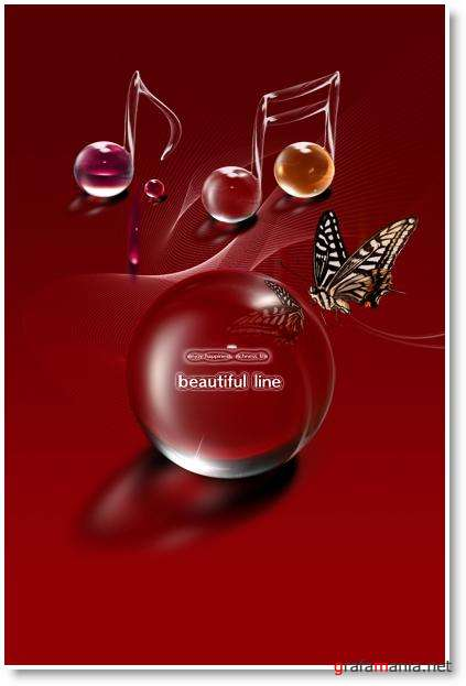 Glass Ball and Butterfly PSD Template