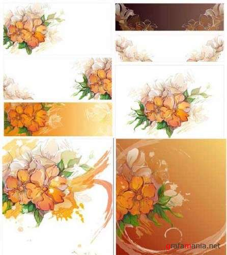 Asadal 2009 - 02 - Flower backgrounds - Vector clipart