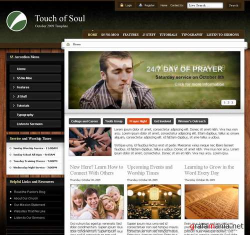 Touch of Soul – October 2009 Joomla Club Template