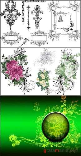 Flower Patterns and Ornaments PSD