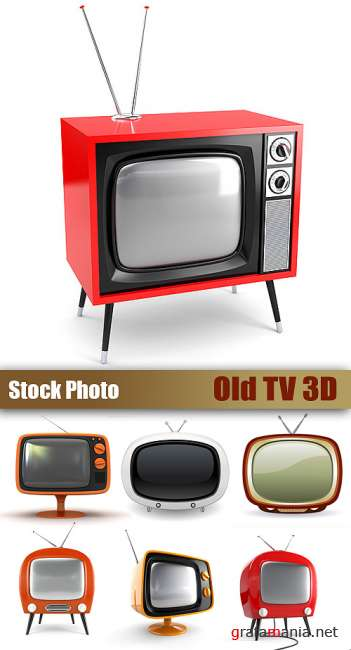 Stock Photo - Old TV 3D