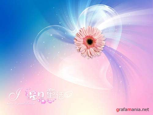 PSD templates - Flower's heart