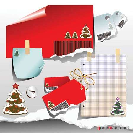 Christmas Stickers and Lables Vectors
