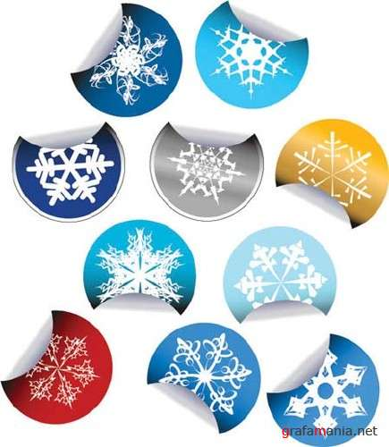 Snowflakes Vector Stickers