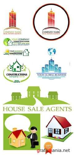 Logo and Vector Houses Sale or Construction