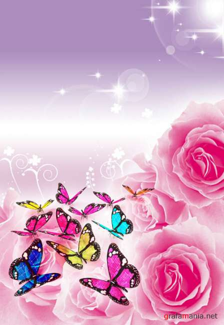 PSD templates - Flower & butterfly