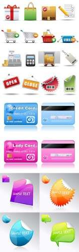 Vector Stickies, realistic credit cards, Shopping and Consumerism Icon Set