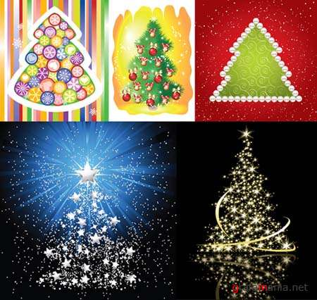 Christmas Trees Vector Mix