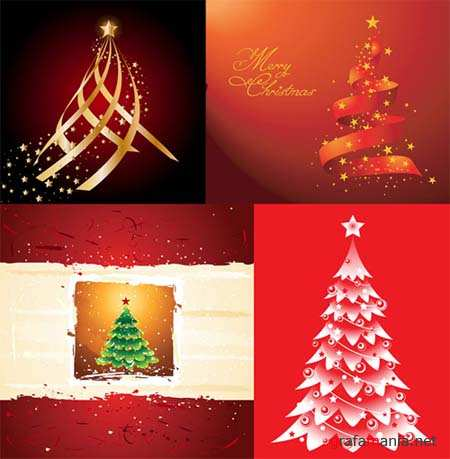 Christmas Trees Vector Mix 2