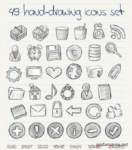 49 Hand Drawn Icons