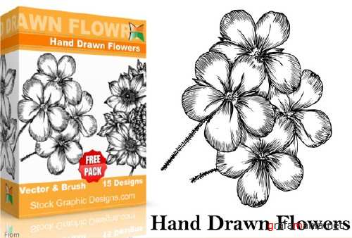 Hand Drawn Flowers Brushes Pack