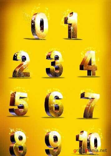 3D Numbers Psd