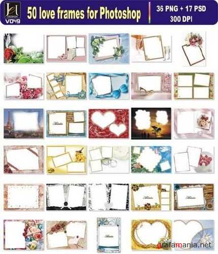 50 Romantic Frames - PSD Templates