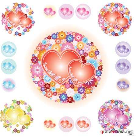 Flower-shaped Vector Hearts