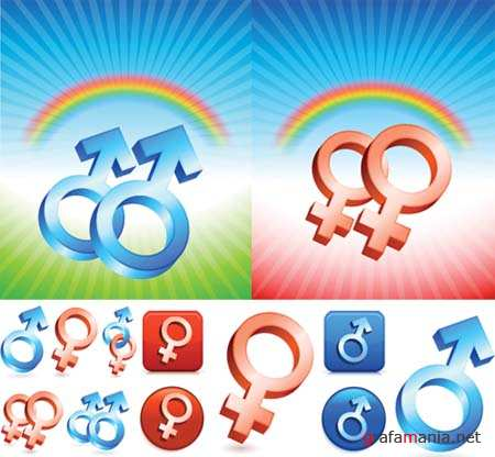 Male and Female Gender Vector Symbols