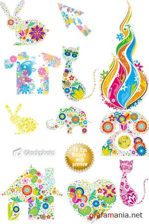 Flowering Shapes Vector Collection
