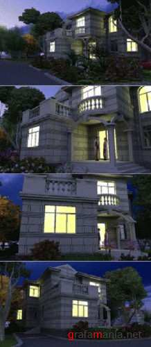 3dsmax Animation Scene - Villa Night View