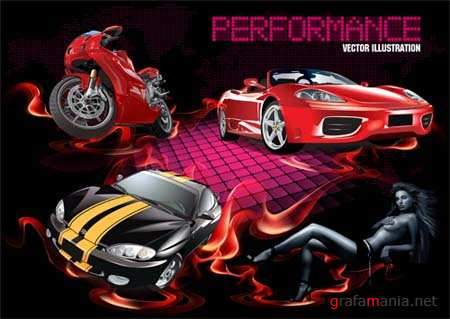 Cars and Girl  Realistic Vector Material