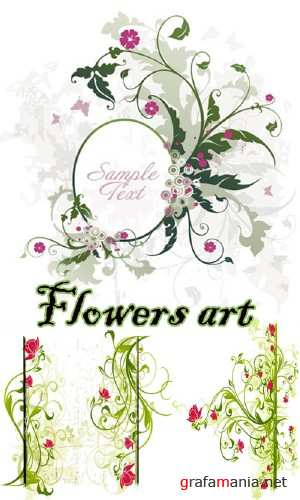 Flowers art vectors 2