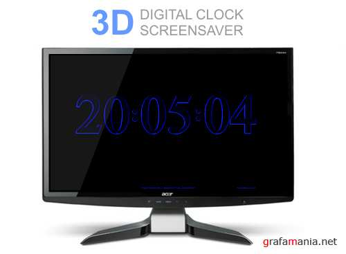 3D DIGITAL CLOCK SCREENSAVER