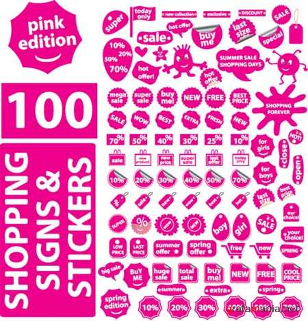Shopping Signs and Stickers Vectors (Pink Edition)