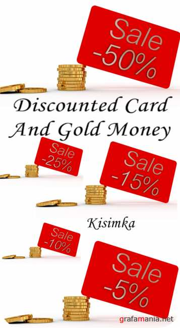 Stock Photo: Discounted card and gold money