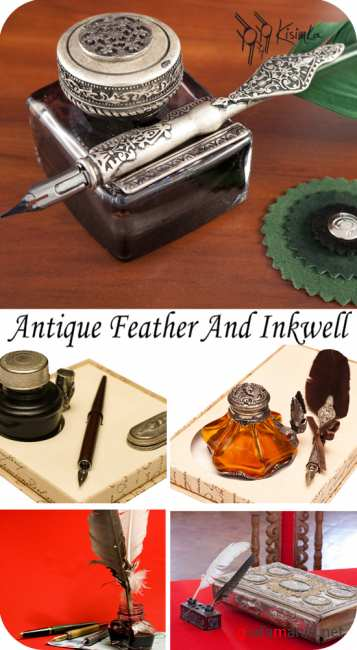 Stock Photo:  Antique feather and inkwell