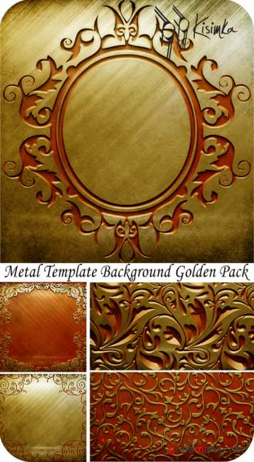 Metal template background. Golden pack
