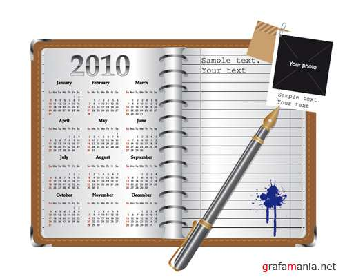 Notebook and Calendar Vector
