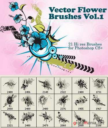 21 Hi-Res Vector Flower Photoshop Brushes