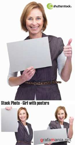 Stock Photo - Girl with posters