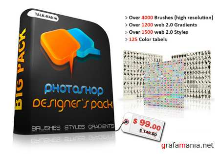 Photoshop Designers Pack (Brushes, Color Tables, Gradients, Styles)