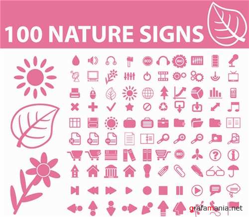 100 Nature Signs Vector
