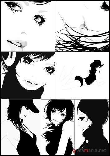 Beautiful girls black and white vector