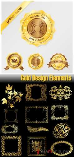 Stock Vector - Gold Design Elements