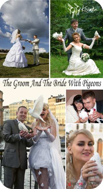 The groom and the bride with pigeons in hands